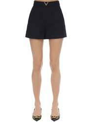 Valentino Metal V Logo Crepe Couture Shorts Navy