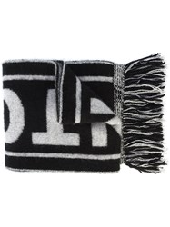 The Elder Statesman Logo Scarf Cashmere Black