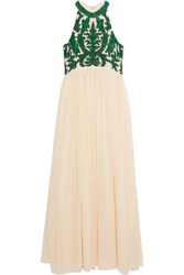Ganni Colby Sequined Tulle Maxi Dress Cream