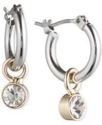 Lonna And Lilly Ionna And Lilly Silver And Gold Tone Hoop Earrings With Stone Drop