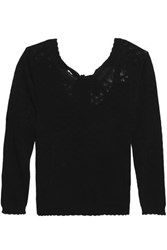 Claudie Pierlot Moustache Tie Back Pointelle Knit Sweater Black
