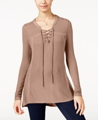 American Rag Crochet Trim Lace Up Waffle Knit Top Only At Macy's Pale Pink