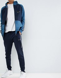 Nicce London Bronco Skinny Joggers With Side Stripes Navy