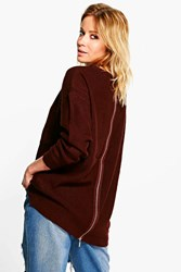 Boohoo Zip Back Jumper Aubergine