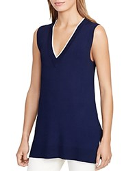 Ralph Lauren V Neck Sleeveless Tunic Navy Ivory