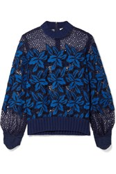 Sea Ribbed Cotton Trimmed Guipure Lace Sweatshirt Storm Blue