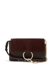Chloe Faye Small Suede And Leather Cross Body Bag Brown