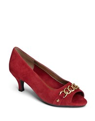 Aerosoles Made Of Honor Leather Pumps Dark Red
