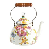 Mackenzie Childs Flower Market Enamel Tea Kettle White Large