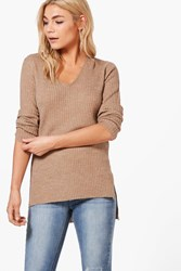Boohoo Fine Knit V Neck Side Split Jumper Camel