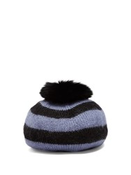 Charlotte Simone Fur Pompom Striped Wool Beret Blue