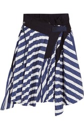 Sacai Cole Asymmetric Pleated Striped Cotton Skirt Navy