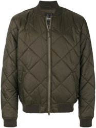 Barbour Quilted Bomber Jacket Cotton Polyamide Polyester Spandex Elastane M Green