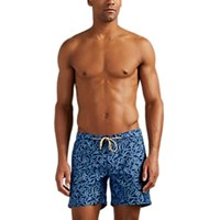 Thorsun Fish Print Swim Trunks Navy