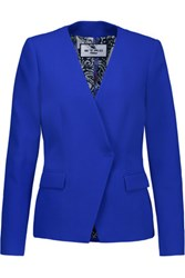 Etro Asymmetric Wool Crepe Blazer Royal Blue