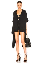 Jonathan Simkhai Mesh Tie Front Caftan Cover Up In Black