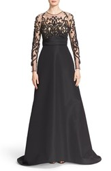 Women's Pamella Roland Beaded Bodice Silk Faille Gown