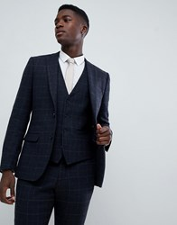 French Connection Tweed Square Slim Fit Heritage Suit Jacket Dark Blue