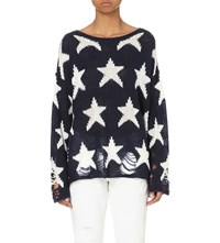 Wildfox Couture Seeing Stars Knitted Jumper Oxford Blue