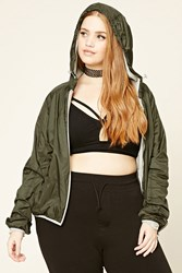 Forever 21 Plus Size Hooded Windbreaker Olive Grey