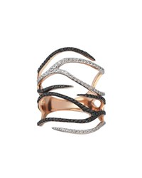 Kismet By Milka Zebra Black And White Diamond Ring In 14K Rose Gold