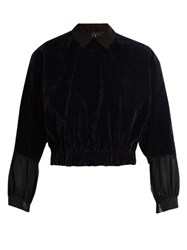 Kolor Elasticated Hem Velvet Blouse Navy