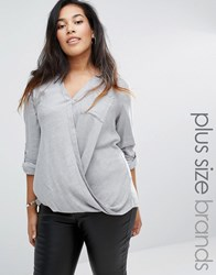 New Look Plus Wrap Front Shirt Grey