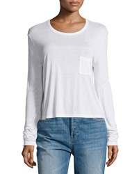 T By Alexander Wang Classic Cropped Long Sleeve Tee White