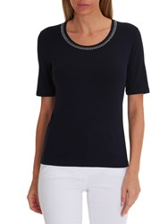 Betty Barclay Embellished Neckline T Shirt Dark Sky