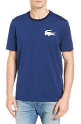 Lacoste Men's L Ve Croc Patch T Shirt Jazz White Navy Blue