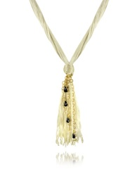 Daco Milano Onyx Drops Multi Strand Sterling Silver Lace Necklace White