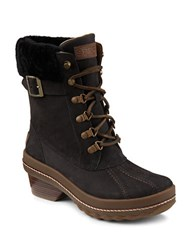 Sperry Gold Cup Ava Dyed Shearling Leather Boots Black