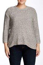 Philosophy Dane Lewis Long Sleeve Crew Neck Hi Lo Pullover Plus Size White