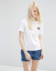 Asos T Shirt With Sequin Heart Badge White