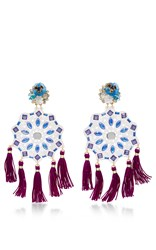 Mercedes Salazar Fiesta Flower Earrings Blue