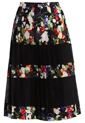 Banana Republic Mindy Floral Pleated Skirt Black Multi