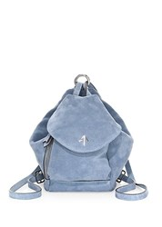 Manu Atelier Mini Fernweh Suede Backpack Jeans Blue
