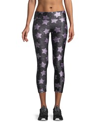 Terez Heathered Stars Print Capri Leggings Gray Pink