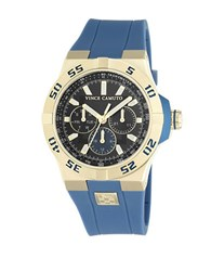 Vince Camuto Goldtone Stainless Steel Silicone Strap Watch Vc1010bkgp Blue