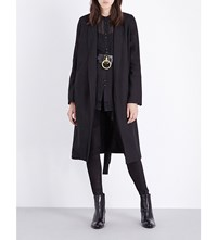 Isabel Benenato Longline Linen And Wool Blend Coat Black
