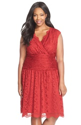 London Times Shirred Waist Cap Sleeve Lace Fit And Flare Dress Plus Size