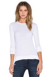 Enza Costa Cashmere Slim Long Sleeve Crew Neck Sweater White