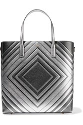 Anya Hindmarch Ebury Embossed Metallic Textured Leather Tote Silver