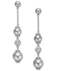 Kate Spade New York Silver Tone Imitation Pearl And Crystal Linear Drop Earrings Grey
