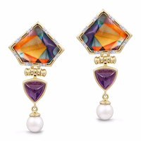 Lmj Mysterious Mayhem Earrings Gold Pink Purple