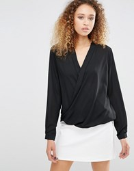 Daisy Street Blouse With Wrap Front Black