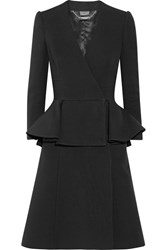 Alexander Mcqueen Double Breasted Wool And Silk Blend Peplum Coat Black