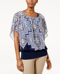 Jm Collection Printed Banded Hem Top Only At Macy's Pagoda Indigo