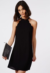 Missguided Crepe Scallop Edge Halter Swing Dress Black Black