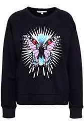 Maje Embroidered Printed Jersey Sweatshirt Black